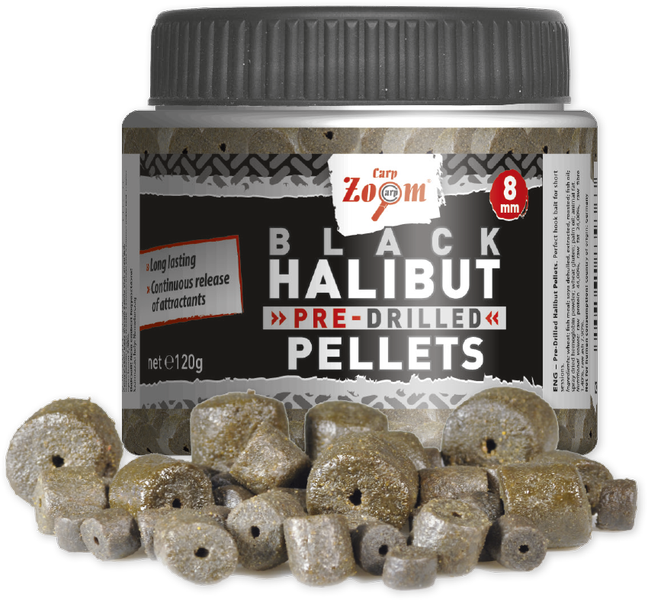 Carp Zoom Pre-Drilled Black Halibut Pellets 8mm, 120g (fúrt)