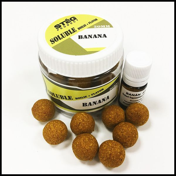 STÉG PRODUCT SOLUBLE BOILIE + FLAVOR 20 MM BANANA & MUSSEL 90 G + 5 ML